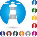 Tower, Lighthouse, Beacon, Colored, Logo Stock Images - 87341914