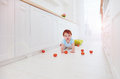 Cute Ginger Baby Boy Crawling On The Floor At Home Royalty Free Stock Photography - 87344697