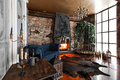 Interior With Fireplace, Candles, Skin Of Cows, Brick Wall, Large Window And A Metal Cell Of A Loft, Living Room, Coffee Stock Images - 87351534
