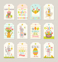 Set Of Easter Tags And Labels With Cartoon Characters And Greetings Royalty Free Stock Image - 87364636