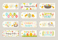 Set Of Easter Tags And Labels With Cartoon Characters And Greetings Royalty Free Stock Photos - 87364718