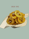 Onion Rings On Paper Wrap In Basket, Hand Drawn Highly Detail Il Stock Photos - 87365723