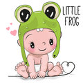 Cute Cartoon Baby Boy In A Frog Hat Royalty Free Stock Photography - 87366577