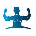 Blue Silhouette Half Body Muscle Man Royalty Free Stock Photography - 87375817