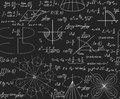 Endless Mathematical Texture With Geometrical Figures, Plots And Equations, Handwritten With Chalk On A Grey Blackboard Stock Photo - 87380960