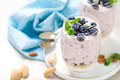 Greek Yogurt Or Blueberry Parfait With Fresh Berries And Almond Nuts On White Background Royalty Free Stock Photography - 87382577