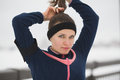Sport Girl Have Work Out Fitness At Snow Winter Promenade - Straightens Hair, Close Up Royalty Free Stock Photo - 87393175