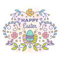 Happy Easter Card. Floral Design With Eggs Stock Images - 87399764