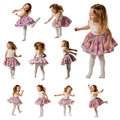 Cute Little Girl Sing Song And Is Dancing Isolated On White Royalty Free Stock Images - 87414319