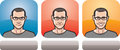Guy In Glasses Face Three Expressions Royalty Free Stock Images - 87414419