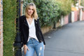 Beautiful Young Blonde Woman In Urban Background Stock Image - 87423261