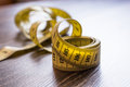 Yellow Measuring Tape Of The Tailor. Royalty Free Stock Images - 87434169