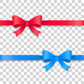 Blue And Red Ribbons With Bows. Cartoon Design Stock Photography - 87434602