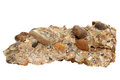 Natural Sample Of Conglomerate Rock From Cemented Gravel And Pebbles On White Background Stock Image - 87442511