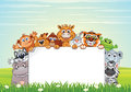 Cute Animals On Nature. Vector Cartoon Background Royalty Free Stock Photos - 87452148