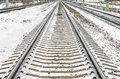 Railway Rails Sleepers Away Snow In Winter Stock Images - 87462334