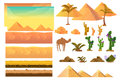 Desert Seamless Background Elements, Cartoon Illustration For Mobile App, Web, Game With Cactuses. Royalty Free Stock Photo - 87465085