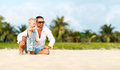 Father`s Day. Dad And Baby Son Playing Together Outdoors On A Su Royalty Free Stock Photo - 87468925