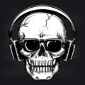 Skull And Headphones Sketch On Blackboard Royalty Free Stock Photography - 87500457
