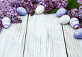 Easter Eggs And Fresh Lilac Flowers Stock Images - 87503094