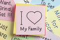 I Love My Family Written On A Note Stock Image - 87504711