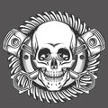 Skull With Pistons Against Motorcycle Gear Emblem Royalty Free Stock Photo - 87517195