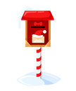 Santa S Mailbox Vector Illustration Of A Letter For Santa Claus Merry Christmas And Happy New Year. Mail Wish List Snow Royalty Free Stock Image - 87520026