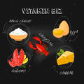 Vitamin B12 On Black Background. Vector Illustration, Eps 10. Fruit And Vegetables With Vitamin B12 Info Graphics Set. Royalty Free Stock Photo - 87523755