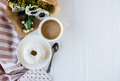 Coffe And A Donut With Fresh Flowers Royalty Free Stock Images - 87550219