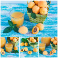 Ripe Orange Apricots In The Basket With Leaves Of Mint And Glass Of Juice Royalty Free Stock Images - 87566619