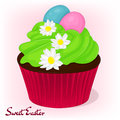 Yummy Cupcake For Easter With Chamomiles Flowers And Eggs. Holiday Background, Poster Or Placard Template In Cartoon Stock Images - 87570614