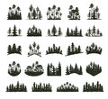 Tree Outdoor Travel Black Silhouette Coniferous Natural Badges, Tops Pine Spruce Branch Cedar And Plant Leaf Abstract Stock Photo - 87576740