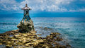 Cute Temple On The Shore By The Sea On Nusa Penida With Dramatic Clouds Above Bali, Indonesia Royalty Free Stock Photo - 87581445
