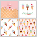 Ice Cream Cute Cards And Seamless Pattern Set. Kawaii Cartoon Characters. Wafer Surface With Melted Strawberry Cream Royalty Free Stock Image - 87583506