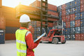 Foreman Control Loading Containers Stock Photography - 87592762