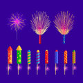 Colourful Firework Rockets On Blue Background Stock Images - 87596204