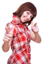 Laughing Girl In A Shirt Giving Thumbs-up Royalty Free Stock Photo - 8768435