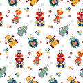 Colorful Vector Seamless Pattern With Retro Robots. Stock Photography - 87601282