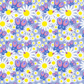 Floral Seamless Pattern With Daisies And Butterflies Stock Photo - 87610690