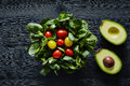 Avocados And Tomatoes Organic Fresh Delicious Salad Stock Image - 87615321