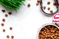 Dry Dog Food In Bowl On Stone Background Top View Royalty Free Stock Images - 87622199