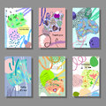 Set Of Artistic Colorful Cards. Memphis Trendy Style. Covers With Flat Geometric Pattern. Royalty Free Stock Image - 87639466