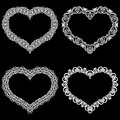 Laser Cut Frame In The Shape Of A Heart With Lace Border.  A Set Of The Foundations For Paper Doily For A Wedding. A Set Of  Valen Stock Photos - 87639503