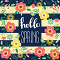 Floral Greeting Card With Flowers. Hello Spring. Royalty Free Stock Photography - 87645587