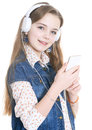 Teen Girl With Phone And Headphones Stock Photos - 87654853