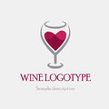 Vector Illustration Logo Glass Of Red Wine On A White Background In The Form Of Heart Stock Photo - 87666890