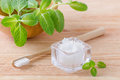 Alternative Natural Toothpaste Coconut Oil And Wood Toothbrush Closeup, Mint On Wooden Royalty Free Stock Image - 87667226