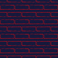 Seamless Pattern Of Stylized Brick Wall, Red On Navy Blue. Stock Photo - 87674910