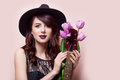 Beautiful Young Woman With Bunch Of Tulips And Guitar On The Won Stock Images - 87686884