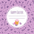 Celebratory Background With Easter Cake, Painted Eggs And Space For Text. Royalty Free Stock Photography - 87692547